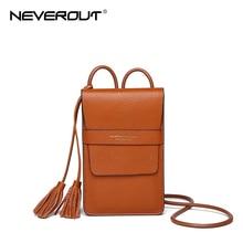 Neveout עור אמיתי תיק טלפון קיץ תיקים קטנים Tassel מוצק כתף Sac מותג עיצוב אופנה שקית Crossbody מס 'שקיות