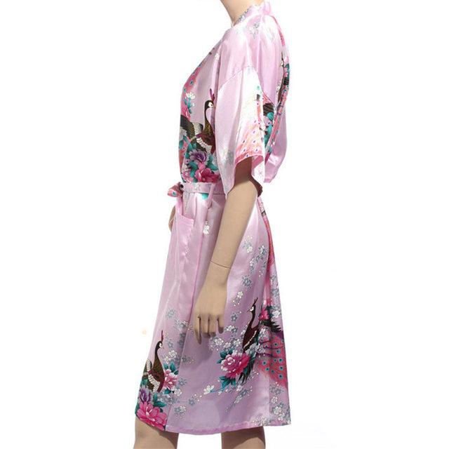 Faux Silk Robe Mujer Pijama China Style Ladies