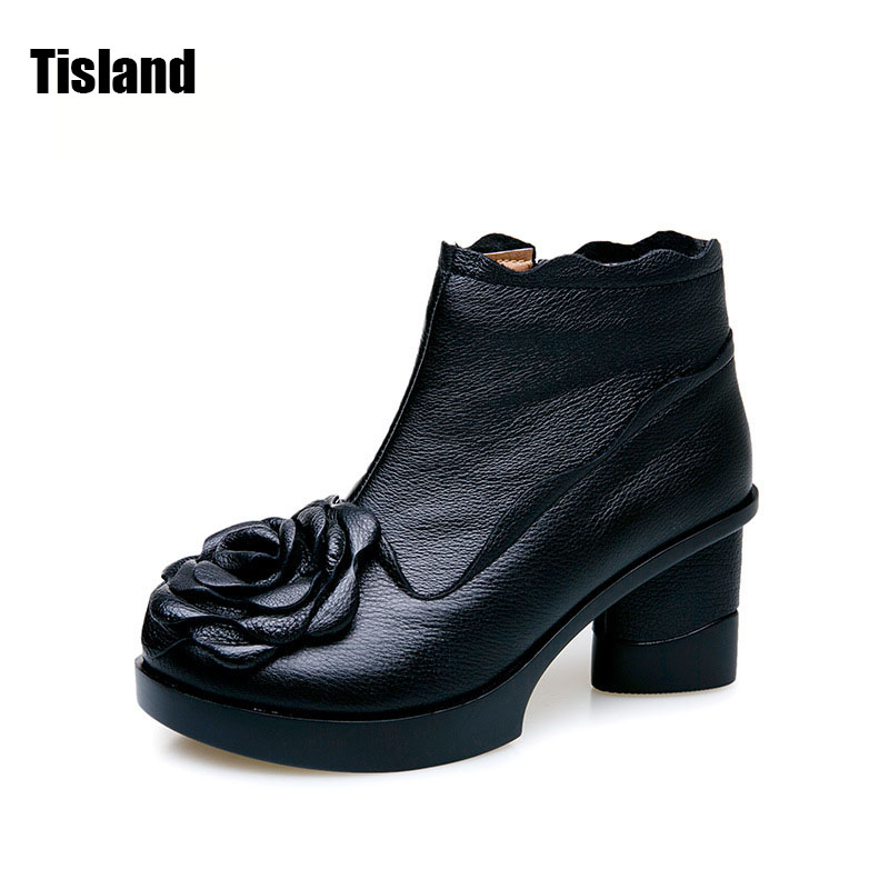 New 2017 Genuine Leather Boots Fashion Thick High Heels Boots Women Motorcycle Ankle Boots Autumn Winter Flower Martin Boots 2017 new women s genuine leather boots motorcycle boots rough with in tube high heeled boots thick wool really pima ding