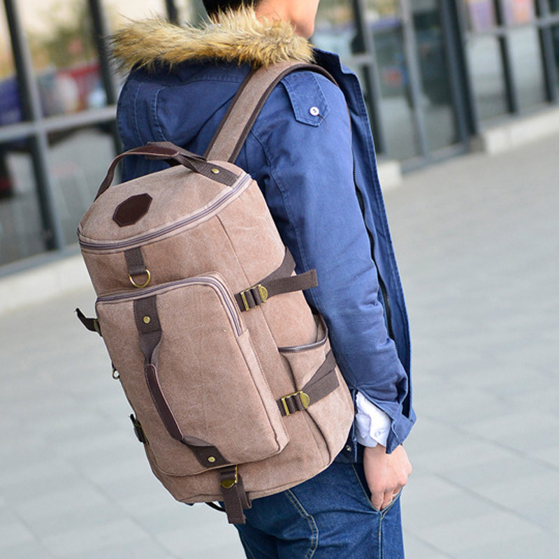 Fashion Men Large Capacity Travel  Backpack Mountaineering Bag Canvas Bucket Shoulder Bags