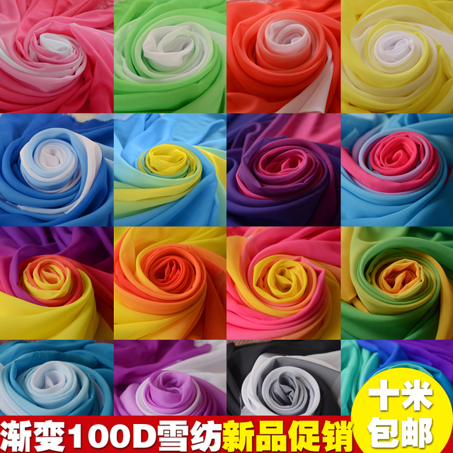 100DDouble color  transition stage  chiffon fabric costume Hanfu gradient Chiffon sleeves cloth