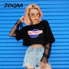 ZOGAA Women Harajuku Black T Shirt Lace Mesh Patchwork Long Sleeve Hollow Out Crop Tops Letters Korean Streetwear Shirts