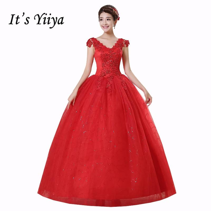 Transport gratuit Vestidos De Novia roșu alb roșu de cristal rochii de mireasa rochii de mireasa plus dimensiune Princess Lace Mireasa ieftin Frocks rochii HS159