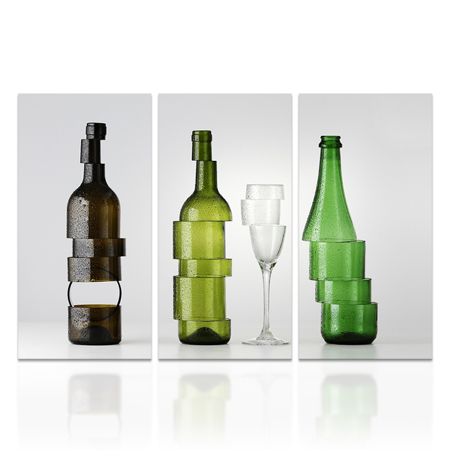 HD Printed Canvas Wall Decor Beer Bottle And Champain Glass Modern Art Photo  Wall Picture For Dining Room Bar Decoration