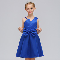 New Knee Length Party Dresses for Juniors Shoulder Strap Design Asymmetrical Cowl Neck Red Blue Dress for Girls Kids Bow Clothes