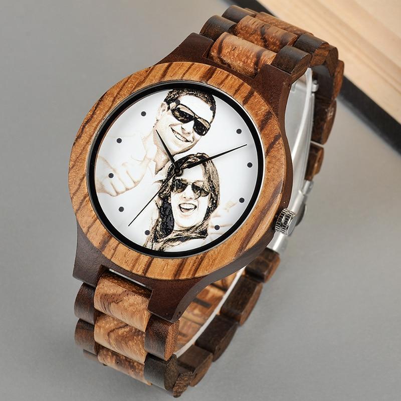 BOBO BIRD Personal Photo Print Customized Wood Watch with Gift Box 18