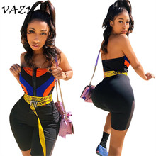 VAZN 2018 New Style Brand Fashion Women Casual Playsuits Striped Strapless Novelty Bodycon Rompers LS6087