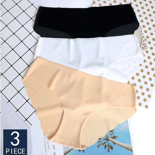 3PCS/Set Seamless Panties Set Underwear Women Female Intimates Fashion Girls Low-Rise Briefs 8Colors Lingerie 2019 Drop Shipping