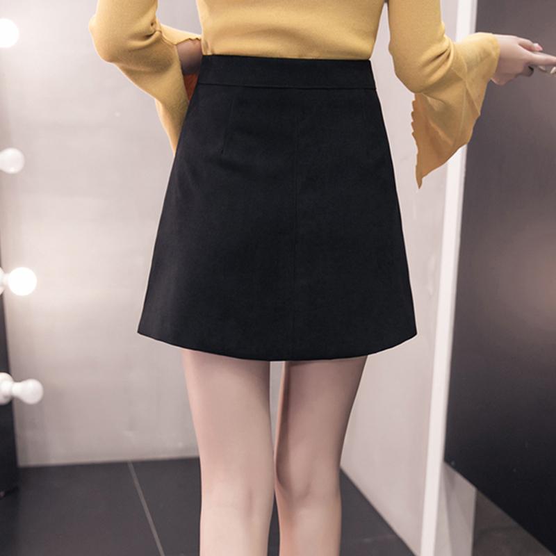 HTB1C4JZkk.HL1JjSZFuq6x8dXXav - Suede Skirt Fashion High Waist Zippers JKP343