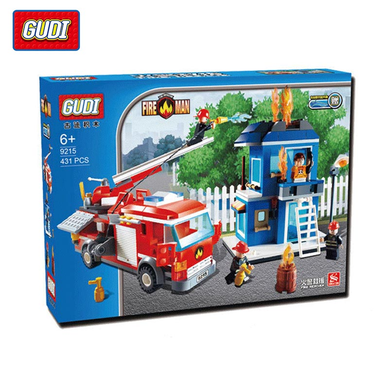 ФОТО GUDI City Fire Man The Fire Rescue Building Block Models Bricks Kids Toys