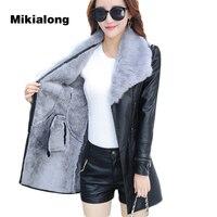 OLN 2018 Fur Collar Women Long Leather Jacket Coat Female Winter Long Sleeve Suede Fur Jacket Women Bow Motorcycle Jacket