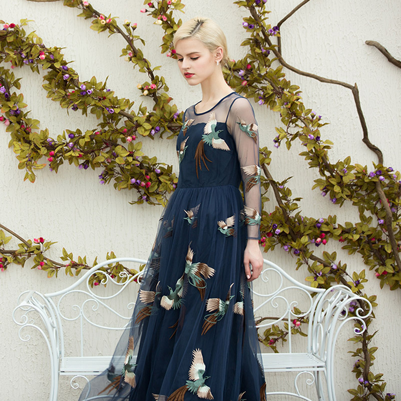 High quality 2016 new summer maxi dress women track net yarn/phoenix bird embroidery long dress