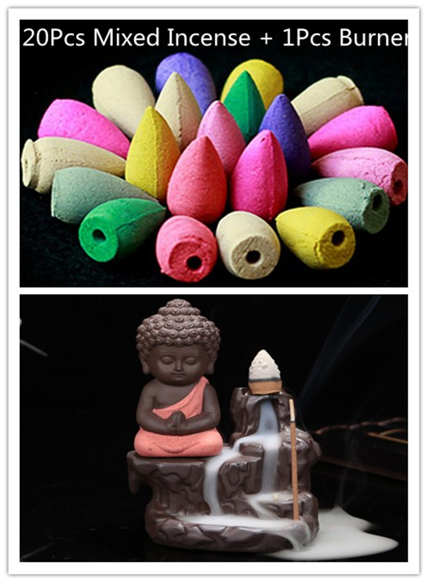 1Pcs Burner With 20Cones Creative Home Decor The Little Monk Small Buddha Censer Backflow Incense Burner Use In Home Teahouse