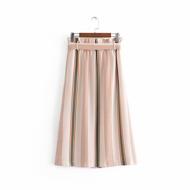 Fashion Summer Striped Skirts Women Mid-Calf Casual A-Line Long High Waist Ladies Skirt Female Pleated Beach Skirts with Tape