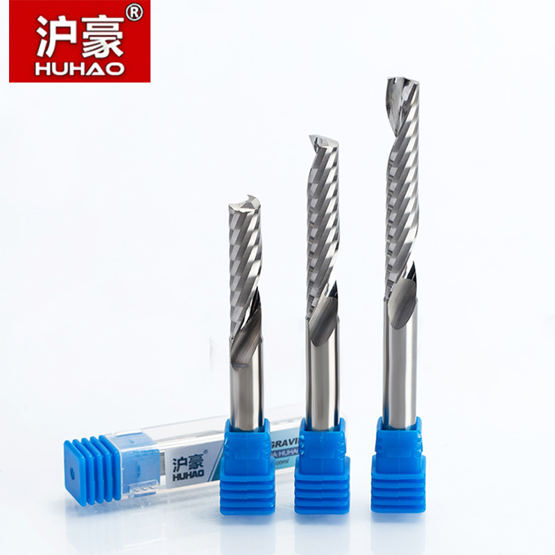 HUHAO 1pc 8mm Single Flute Spiral Cutter 3A TOP Qualit CNC Router Bits For Wood Acrylic PVC MDF End Mill Carbide Milling Cutters 6 35 22mm carbide cnc router bits single flute spiral carbide mill engraving bits a series for smooth cutting wood acrylic