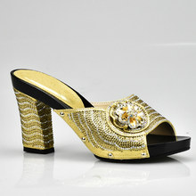 9530aa913cee19 Gold Color Italian Lady Sexy High Heels Pumps Decorated with Rhinestone  Italian Design African Sandals Shoe