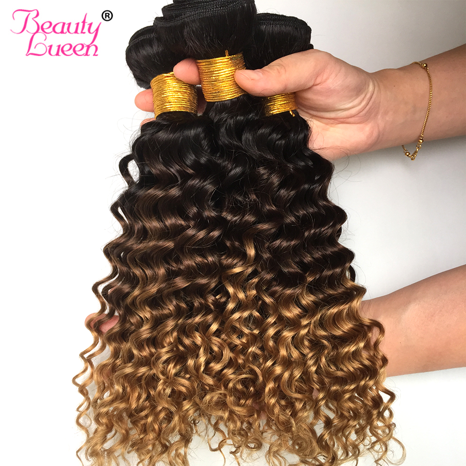 Hair Extensions & Wigs Just Wome #27 Mongolian Deep Wave Hair 3 Bundles Honey Blonde Color Human Hair With Closure Non Remy Curly Hair Extensions