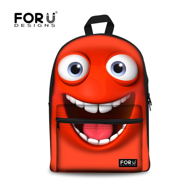 12d6c72689cb Smile Emoji Funny Face Children 3D Canvas School Bags Backpack