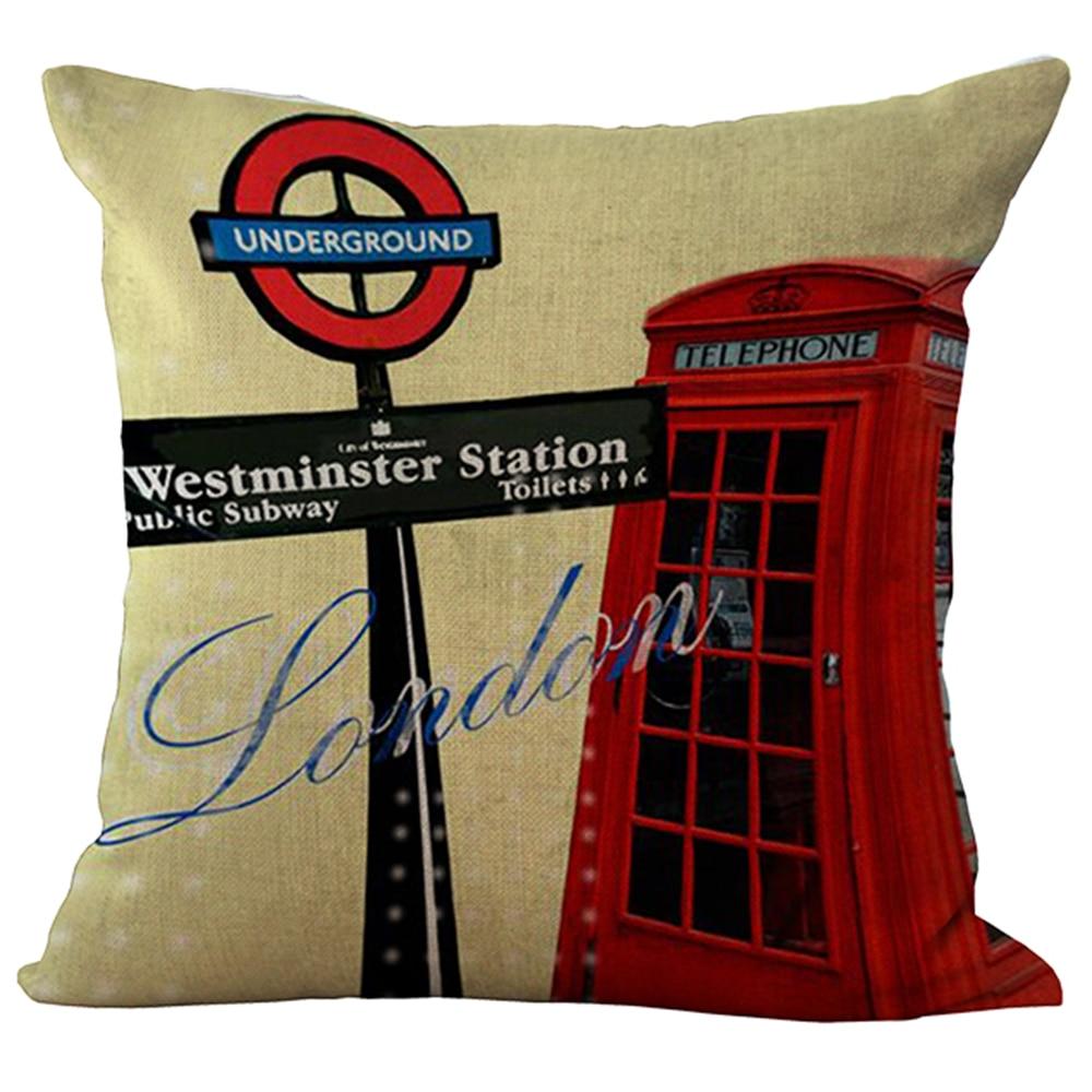 45x45cm UK London telefon kabinəsi avtobus modelləri kətan - Ev tekstil - Fotoqrafiya 3