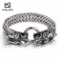 Cheap 316L Stainless Steel Link Chain Double Dragon Head Charm Bracelet High Polishing Bracelet Men Accessory
