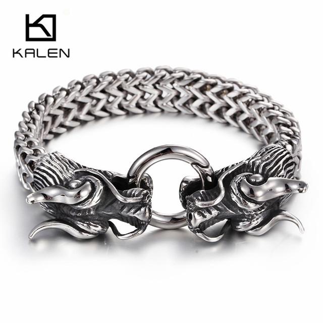 Kalen elo da cadeia do aço inoxidável 316l double dragon cabeça charme pulseira de alta polimento pulseira acessório homens presente para o namorado