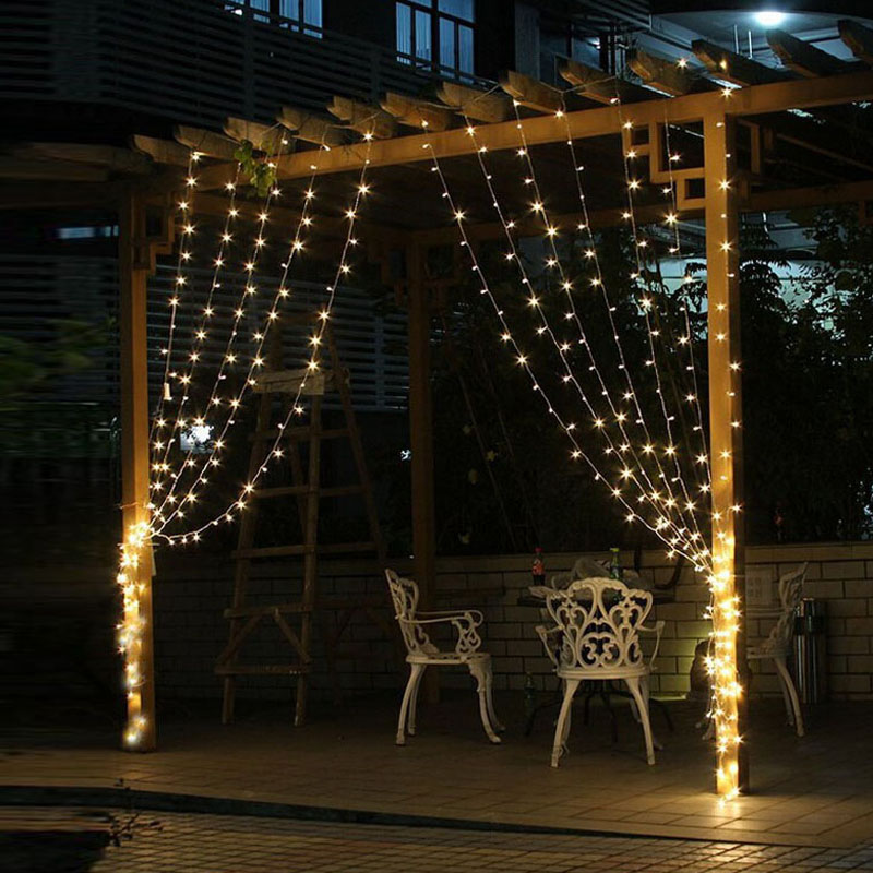 4.5M X3M 300 LED Koppar Gardin String Lights Holiday Xmas Decoration - Festlig belysning - Foto 2