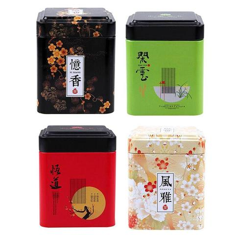 1PC Vintage Tea Caddy Pastoral Candy Tin Mini Iron Storage Boxes Sealed Coffee Powder Cans Tea Leaves Container Metal Organizer Karachi
