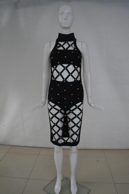 Mode Soirée Nouveau D'été Black 2016 Sans Femmes De Sexy Robe Rivet Manches Chaude Nq0019 Femme Noir Nuit Évider 6qF5q
