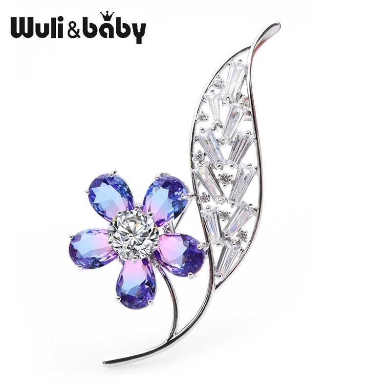 Wuli Bayi Berwarna Kaca Kristal Bunga Bros Wanita Pernikahan Perjamuan Bros Pin Ibu Hadiah