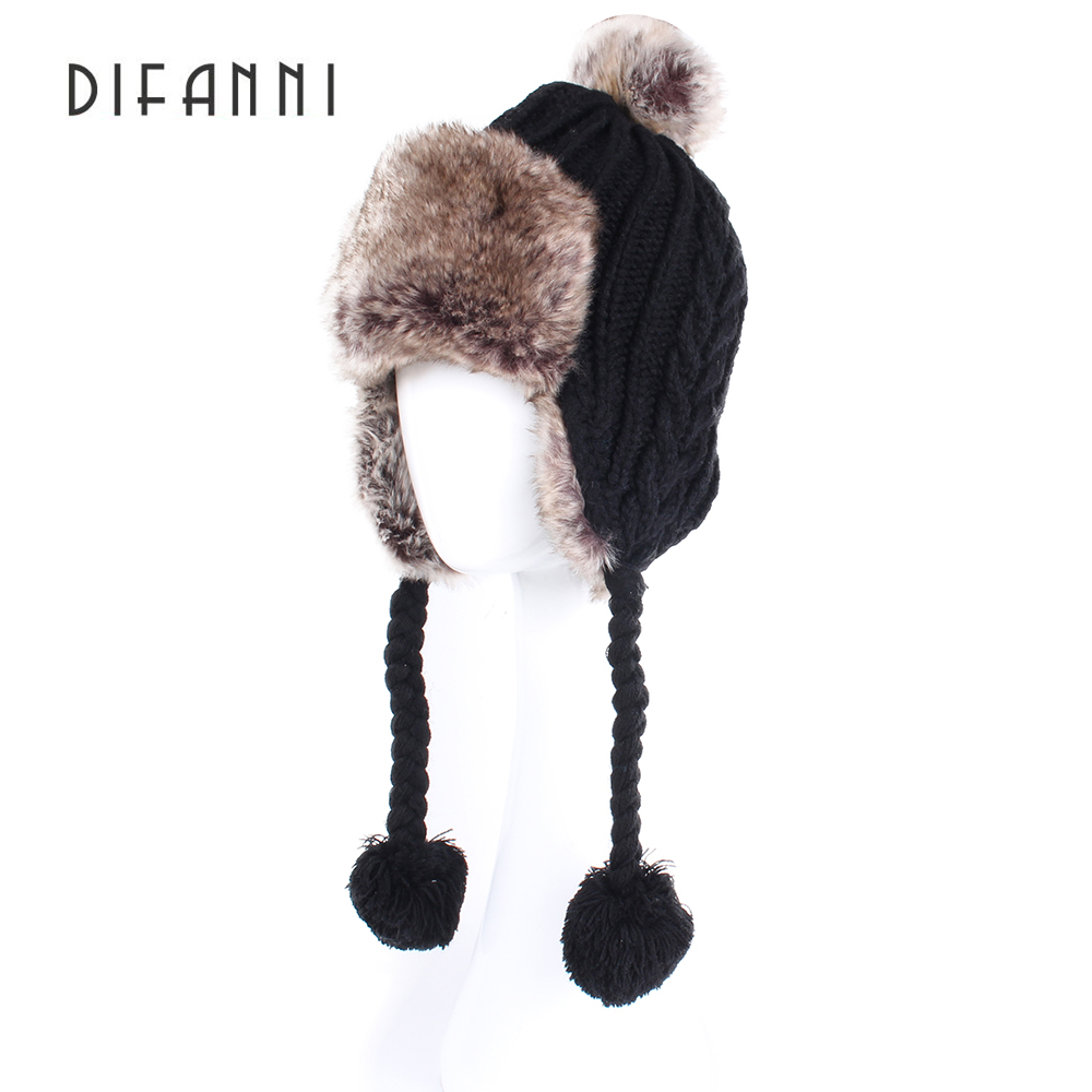 Image Difanni 2017 New Fashion Designer Beanies Winter Hat with Ears Warm Beanie Girl Hats with Top Ball DFH135