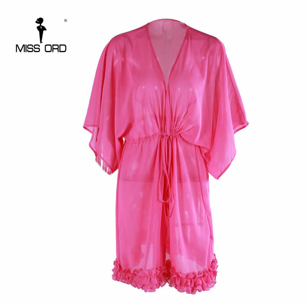 Shiping חינם Missord 2019 סקסי v-צוואר loose קצר שרוול ראפלס חגורת חבל שמלת FT5134-1