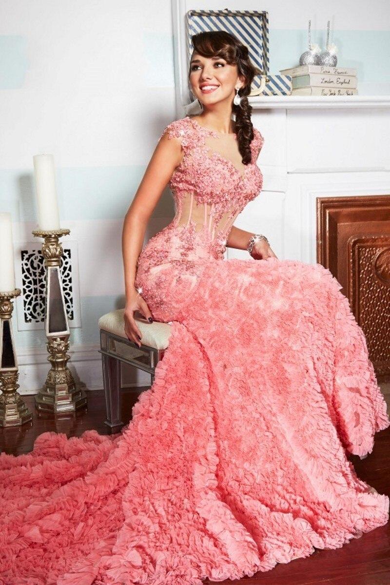 Coral sirena vestido de noche 2016 Janique diseño o cuello apliques ...