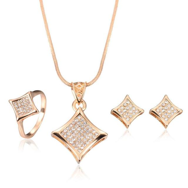 Parure costume jewelry sets bijoux ensemble vintage Rose Gold