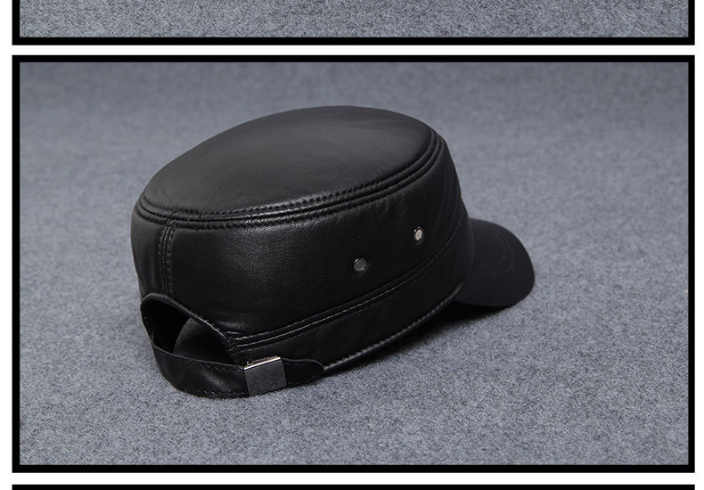 Autumn winter sheepskin hat male flat cap leather men outdoor leisure cap Leather Hat _14