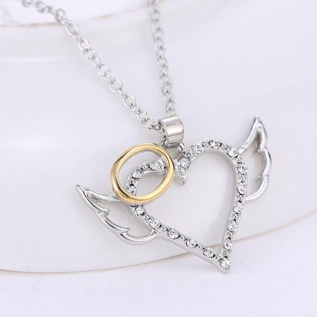 Silver Angel Wings Love Heart Pendant Necklace 2