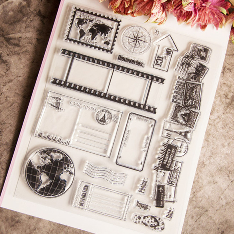 Craft tool Transparent Stamp vintage world travel earth map Clear stamps/seal for DIY Scrapbooking stamp album photo Decorative mariposa en plata anillo