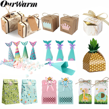 OurWarm Birthday Baby Shower Paper Gift Candy Box Packaging Chocolate Gifts For Guest Party Favor Boxes Wedding Decor