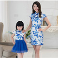 matching family clothes mother daughter Blue and white porcelain cheongsam dresses Matching dress mom daughter Outfits AA1394