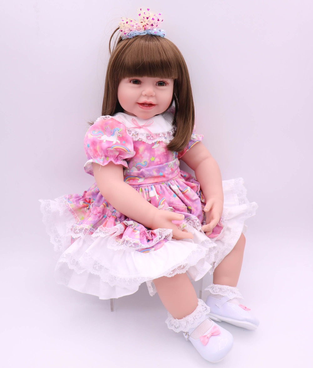 DOLLHOUSE 60cm soft cloth body lifelike toddler girl with lovely princess skirt best kids playmate silicone