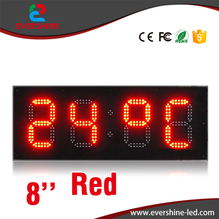 8 Inch Red Color Dispaly Large Outdoor Waterproof LED Clock Display Sign with Temperature Display hd high quality led gas price display sign outdoor led billboard green color 12 outdoor led display screen