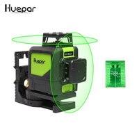 Лазерный уровень на 8 линий, самовыравнивающийся трехмерный лазерный уровень 360 градусов, модель 902CG с зеленым лучом, мощный лазерный луч Huepar