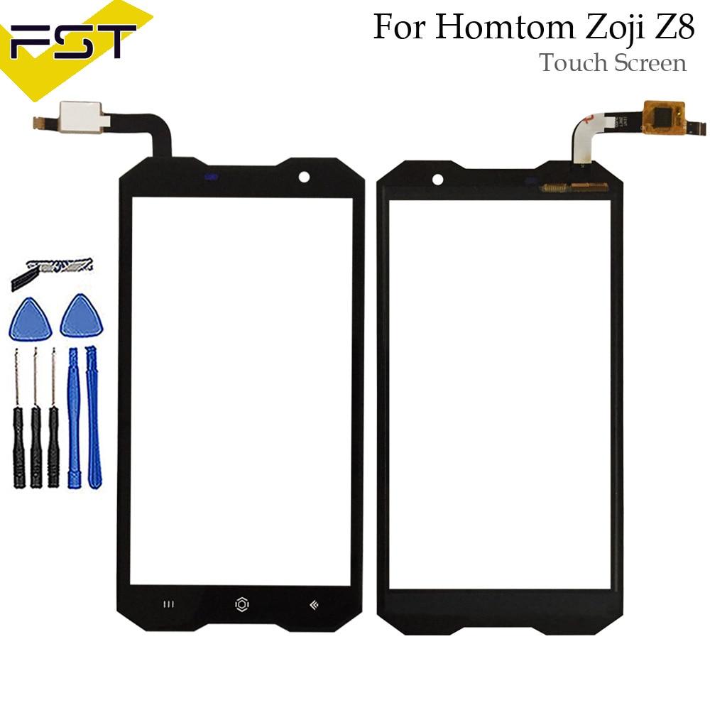 Schwarz 5,0 ''Für HOMTOM Zoji Z8 Touchscreen Glas Panel Touch Screen Für Z8 Front Digitizer Sensor Objektiv + werkzeuge + Adhesive