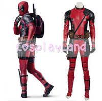 Xmen Deadpool Kostüm Erwachsene Halloween Kostüme Kostüme Deadpool Cosplay Kostüm Maske Zubehör Wade Rot Mann Leder Overall