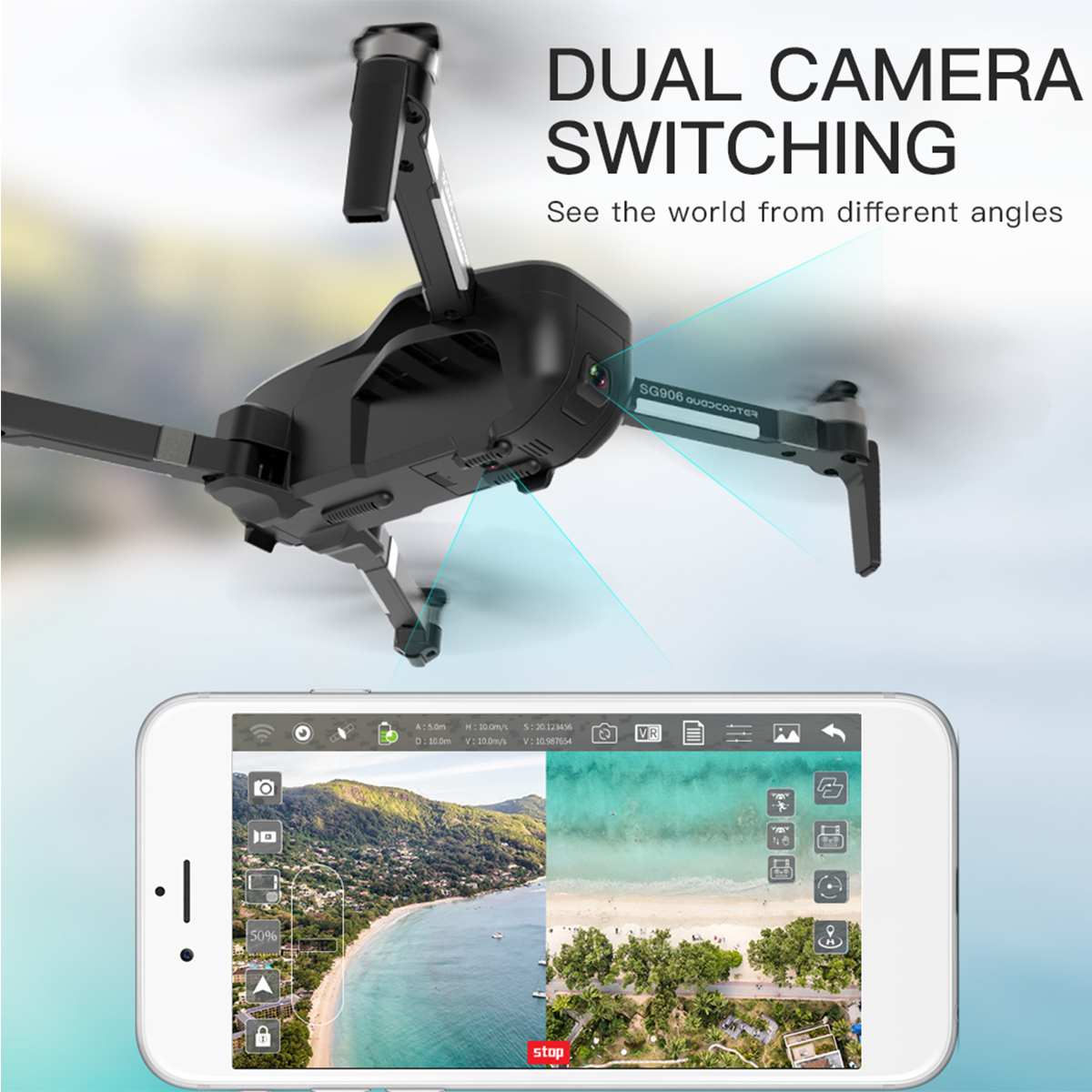 SG906 Wirless Drone Rotating Camera Quadcopter Aerial Photography RC Helicopter With GPS Positioning Route Plan Fuction 1