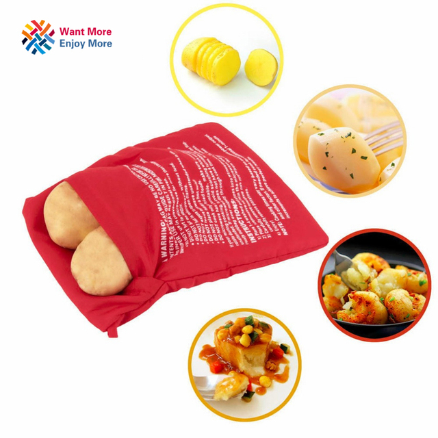1pc New Red Washable Cooker Bag Baked Potato Microwave Cooking Quick Fast Cooks 4 Potatoes At Once Hot Ing