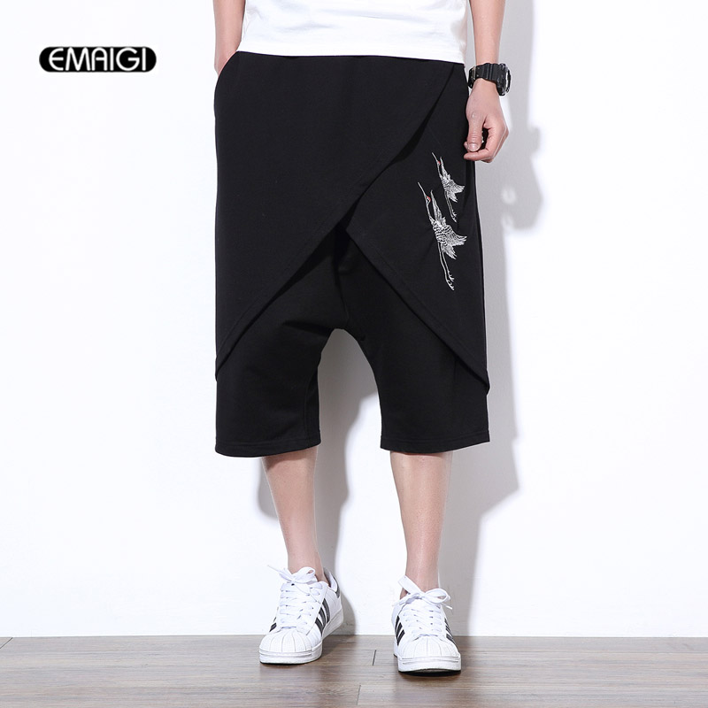 Summer Big Size 5XL Male Harem Shorts Embroidered Punk Hiphop Style Men Casual Shorts Wide Leg Short Trousers