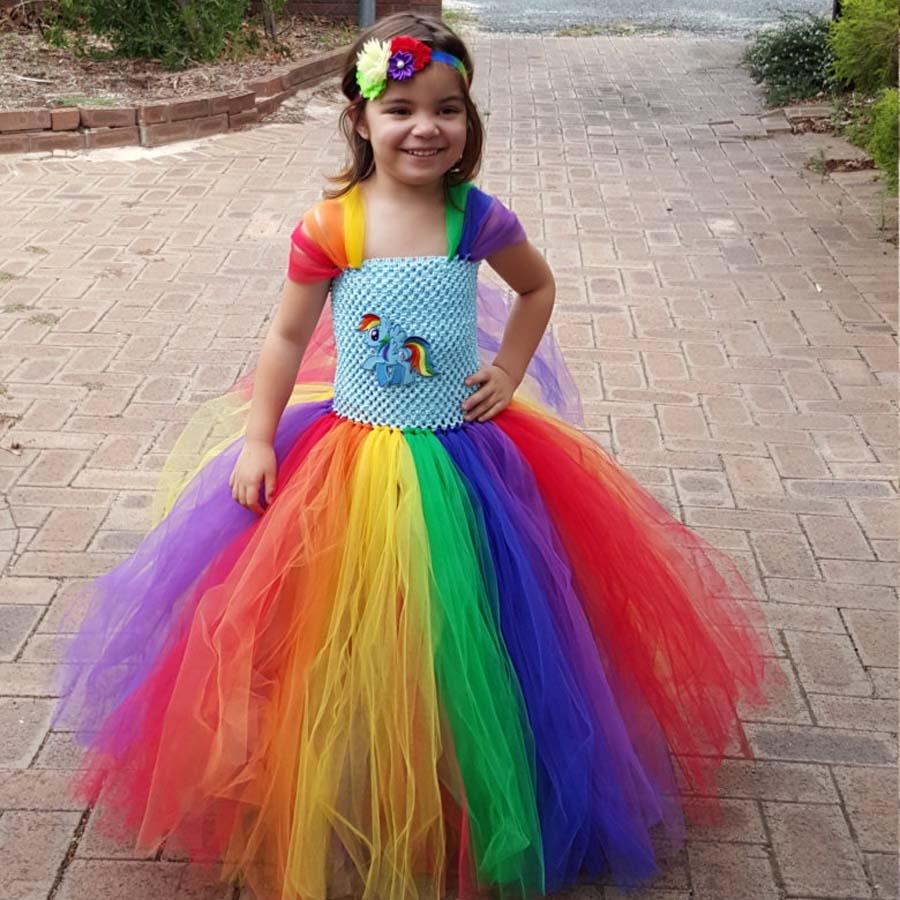 Full Length Little Horse Rainbow Tutu Dress Girl Kids Fluffy Handmade Tulle Tutu Dress Birthday Party Wedding Xmas TS098 pocket full length tee dress page 7