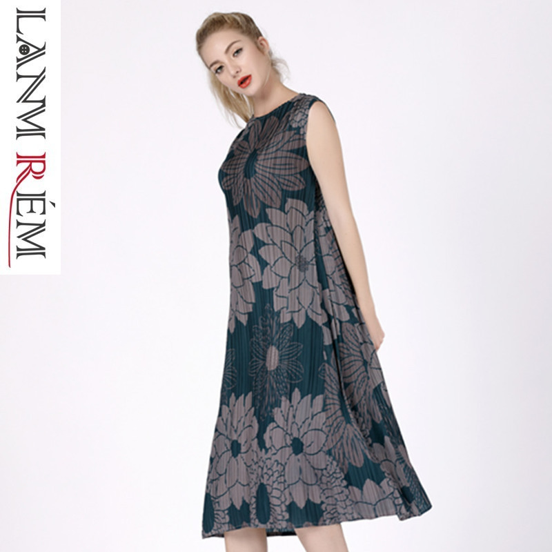 LANMREM 2019 nouvelle mode été haute qualité imprimé plissé vêtements femme à manches courtes o-cou offre spéciale robe Vestido YF916
