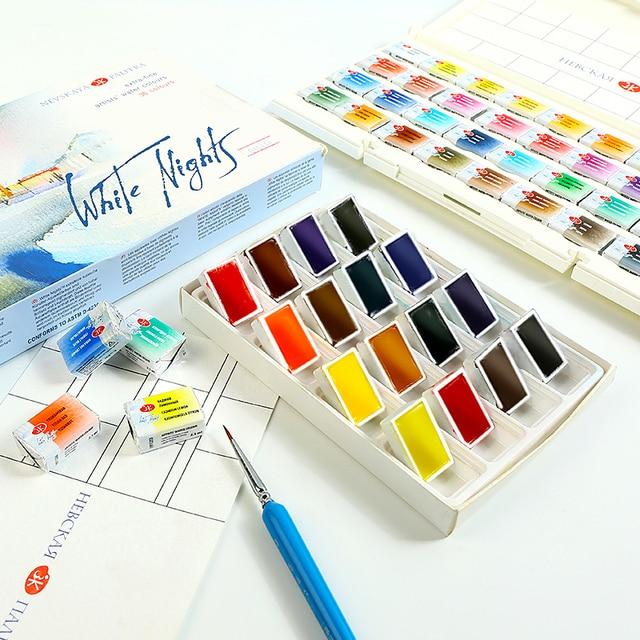 Белая ночь расщепляется одноцветное краска на водной основе комплект с книгой применяется для рисования водой Цвет пигментное окрашивание...