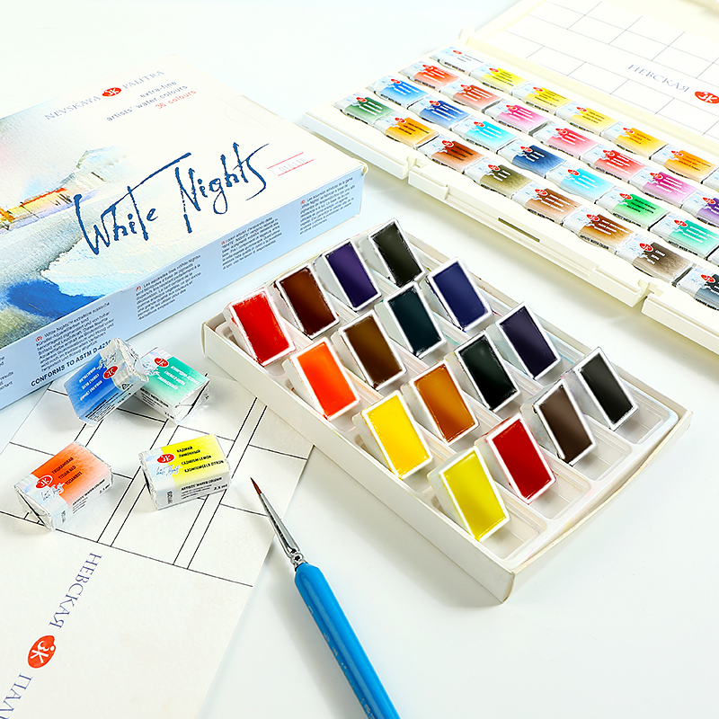 White Night Splited Solid Water Color Paint Set With Book Applied For Drawing Watercolor Pigment Painting Art SupplyWhite Night Splited Solid Water Color Paint Set With Book Applied For Drawing Watercolor Pigment Painting Art Supply